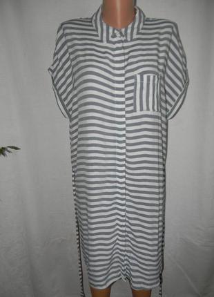 Натуральное платье в полоску большого размера f&f