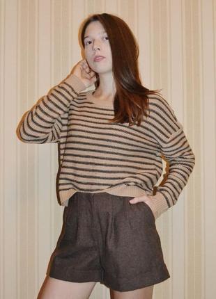 Базовый полосатый свитер h&m бежевый коричневый