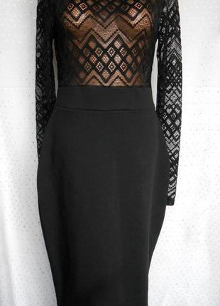 Роскошное черное приталенное платье р.14 (l/xl)