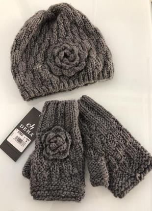 Новый комплект шапка перчатки можно на подарок серый вязанный