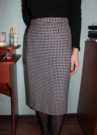 Шерстяная юбка в модной расцветке гусиная лапка