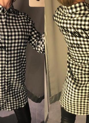 Чёрно белая рубашка в клетку фланелевая рубашка amisu есть размеры