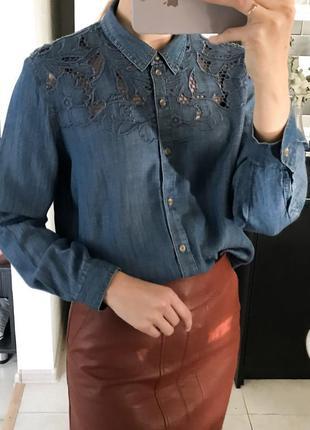 Классная рубашка джинсовая с перфорацией next
