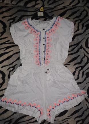 Crafted белый комбинезон с шортиками и вышивкой для девочки