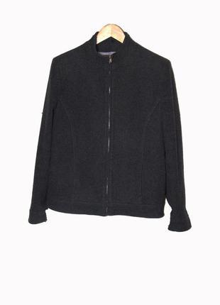Серое шерстяное короткое пальто uk14