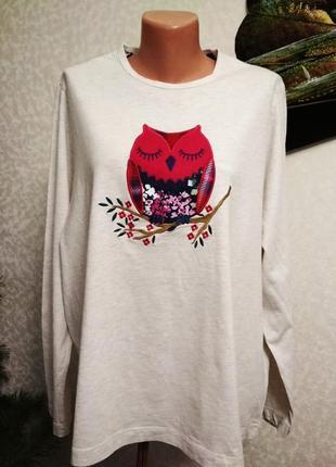 Свитшот, лонгслив, футболка, принт сова, хлопок. 1+1= 50% скидки на 3ю вещь.