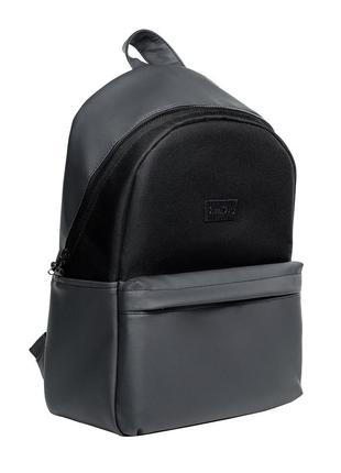 Вместительный женский рюкзак серый графит с экокожи для ноутбука, путешествий
