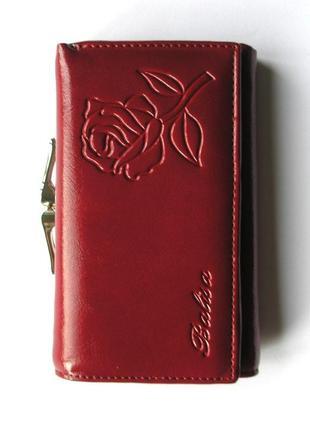 Кожаный кошелек портмоне вишневая роза, 100% натуральная кожа, есть доставка бесплатно