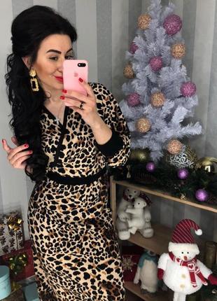 Платье леопардовое на запах