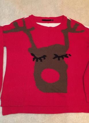Новогодний свитер с оленем, оленихой) свитшот new look оверсайз s-m 42-44