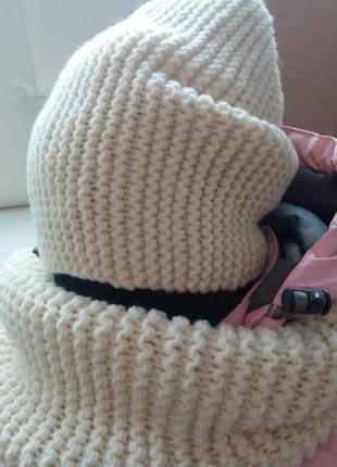 Комплект шапка вязаная бини и снуд хомут в наличии 100% кашемир