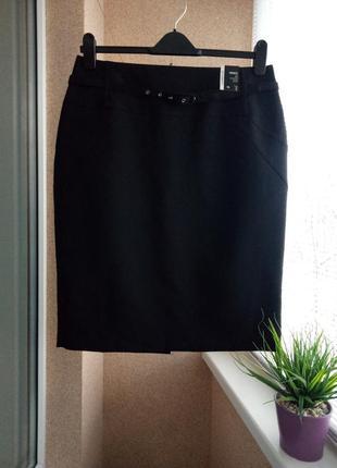 Классическая черная юбка карандаш миди