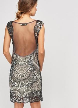 Шикарное платье в пайетки с иллюзией голой спины s-m