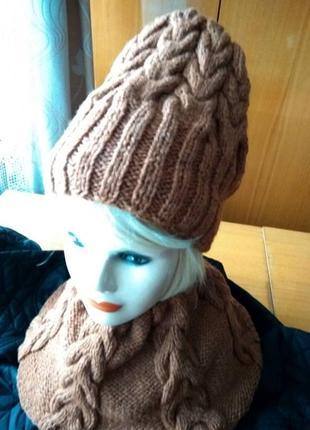 Комплект шапка вязаная женская и снуд зима в наличии