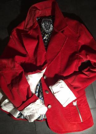 Cупер жакет! вельветовый красный пиджак!