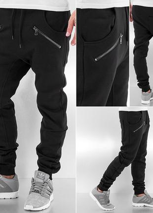 Спортивные зауженные штаны с замками,, качество супер! с,м,л,хл.