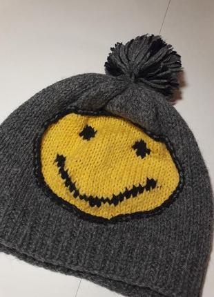 Шапка шапочка вязаная серая смайл smile 😊🛍