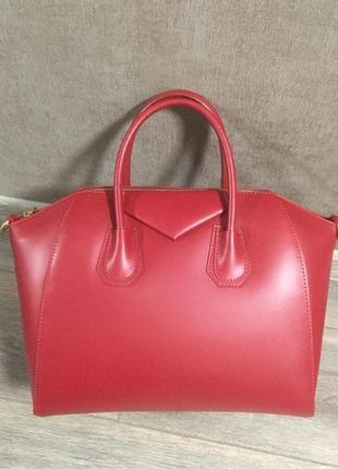 Сумка кожаная италия натуральная кожа 17 чемодан красная красный шкіряна