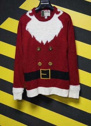 Новогодний рождественский праздничный свитер костюм санты дед мороз музыкальный