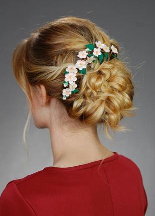"""Заколка для волосся """"вишневий цвіт"""""""
