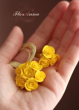 """Кольцо и кулон ручной работы """"жёлтые розы"""""""