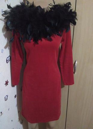 💎  мега-акция 💎  шикарное красное платье велюр на торжество с натуральными перьями франция