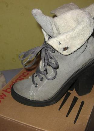 Ботинки на каблуке платформа замша и мех овцы выделка размер 37 по стельке 24 см