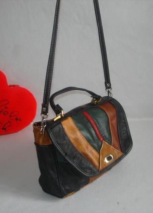 Кожаная сумочка портфель  на длинной ручке