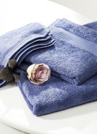 Качественное синее махровое полотенце english home, 50×90