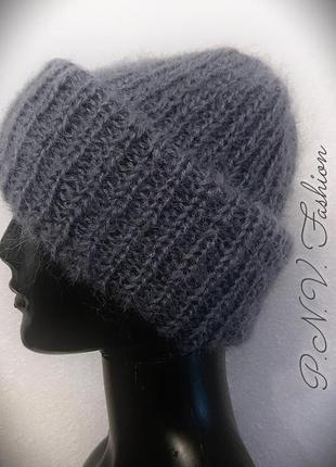 Объемная теплая шапка мохер