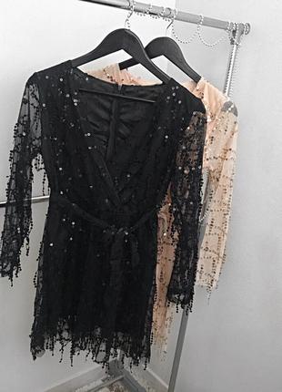 Платье   фатин  и паетка талия на резинке
