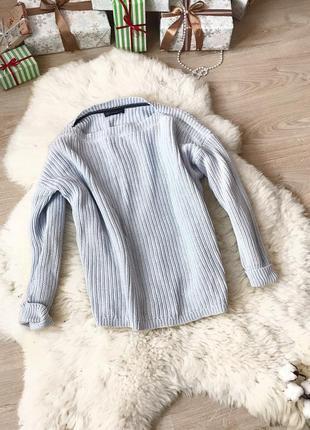 Голубой свитер  оверсайз крупная вязка