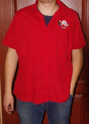 Мужская новгодняя рубашка с коротким рукавом футболка с рисунком дед мороз m-l-xl
