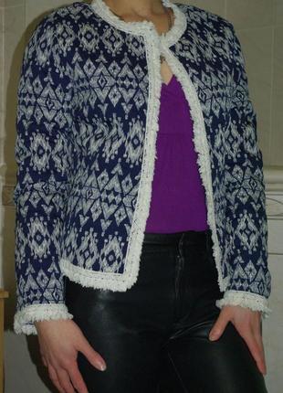 Пиджак жакет кардиган кофточка новогодняя новый год с принтом ромб с бахромой s-m скидки!