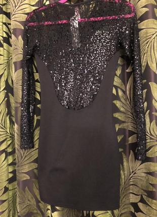 Новогоднее нарядное платье в пайетках в боестках черное вечернее мини короткое