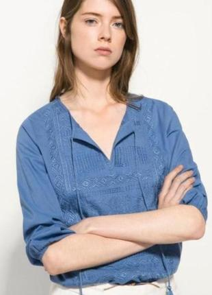Вышитая хлопковая блуза massimo dutti. вышиванка. 100% хлопок, премиум качество!
