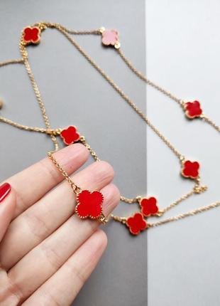 Хит! шикарное смелое ожерелье с красным клевером из италии, ручная работа