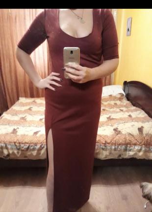 Секси платье цвета марсала