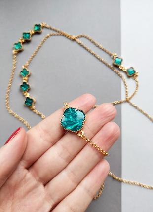 Хит! модное ожерелье с изумрудным клевером из италии, ручная работа