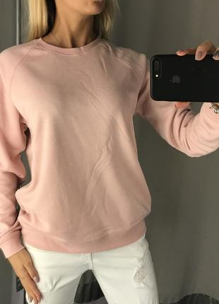 Розовый свитшот с лёгким начёсом однотонная кофта толстовка. amisu.