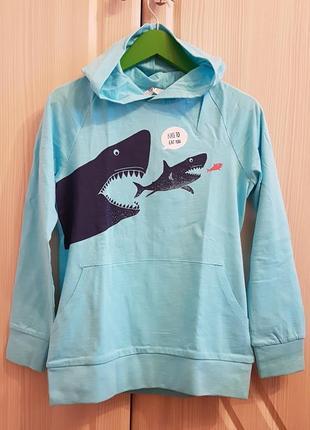 Худи с акулами h&m с капюшоном и карманом. кофта, свитер.