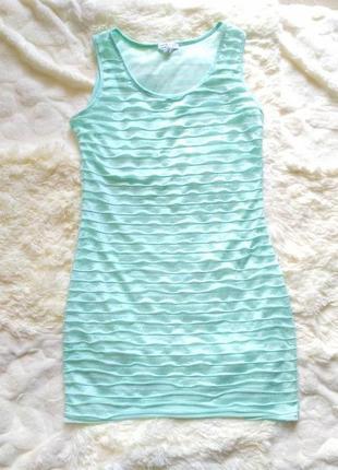 Бирюзовое платье с оборками летнее