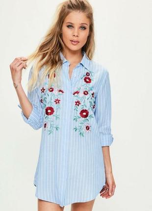 Мини платье с вышивкой или удлиненная рубашка missguided