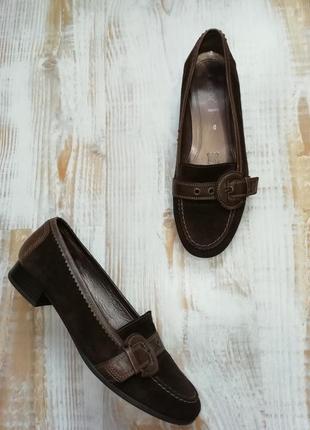 Замшевые мокасины на низком каблуке/ стелька 25,5 см