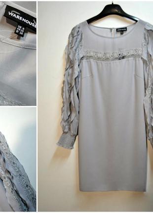 Нежное платье с длинным красивым рукавом