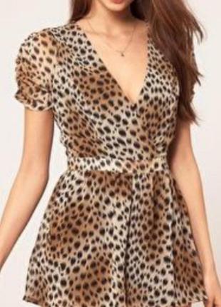 Шикарный нежный комбинезон ромпер шортами в леопардовый узор lipsy