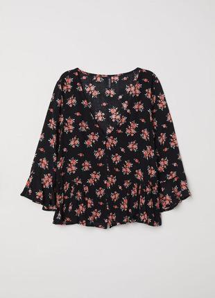 Блуза в цветочный принт с волнами h&m