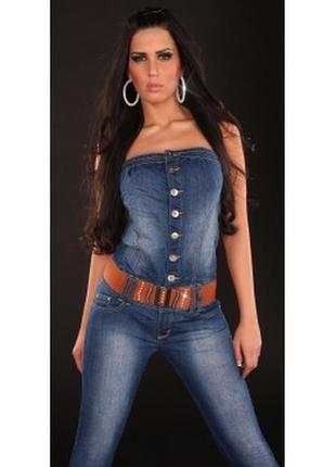 Крутезный джинсовый комбинезон 48-50  miss two. стрейч