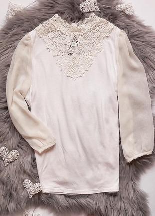 Блуза с кружевом h&m размер m