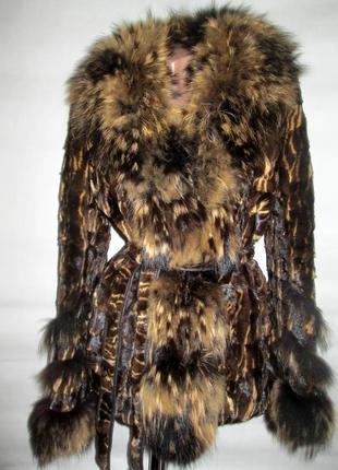 Шуба,шубка полушубок, натуральный мех норка,норковая, енот,46 р